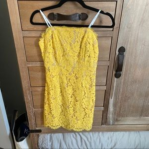 Lulus yellow lace strapless dress